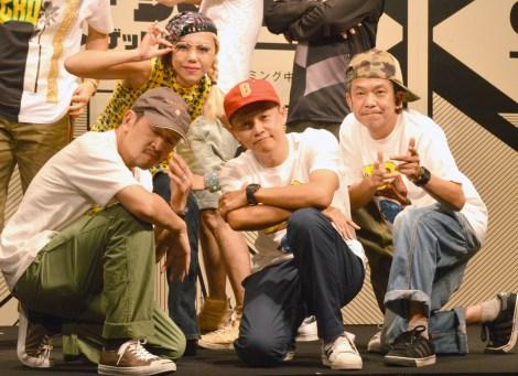 NETFLIXオリジナルドラマ『ゲットダウン』イベントに出席したスチャダラパー(左から)ANI、BOSE、SHINCO (C)ORICON NewS inc.