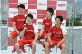 リオ五輪で団体金メダルを獲得した日本男子体操チームのメンバー5人のうち、コナミスポーツクラブに所属する(左から)田中佑典、内村航平、加藤凌平、山室光史の4選手がイベントに参加