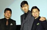 映画『ディアスポリス- DIRTY YELLOW BOYS-』舞台あいさつに登場した(左から)熊切和嘉監督、松田翔太、浜野謙太 (C)ORICON NewS inc.
