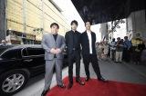 第40回モントリオール世界映画祭に参加した『たたら侍』の(左から)錦織良成監督、青柳翔、小林直己