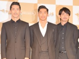 映画『たたら侍』凱旋記者会見に出席した(左から)小林直己、AKIRA、青柳翔 (C)ORICON NewS inc.