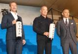 映画『ハドソン川の奇跡』ジャパンプレミアに出席した(左から)アーロン・エッカート、トム・ハンクス、市川海老蔵 (C)ORICON NewS inc.