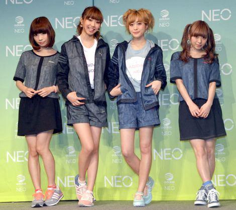 adidas NEO Label『ペアルックTシャツ』発表イベントに登場した「Silent Siren」(左から)あいにゃん、ひなんちゅ、すぅ、ゆかるん(C)ORICON NewS inc.