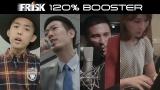 リニューアル発売した『フリスク』のWebムービー「120% BOOSTER」でラップを披露する、(左から)KEN THE 390、Penny、木村昴、はあちゅう