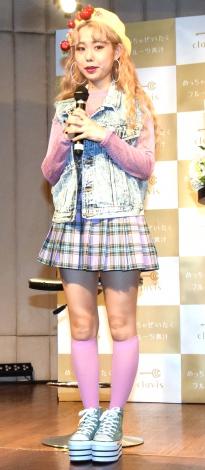 『めっちゃぜいたくフルーツ青汁』PRイベントに登場したぺこ (C)ORICON NewS inc.