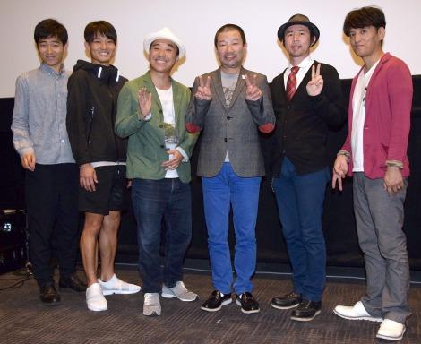 (左から)ジャルジャル、月亭八光、木村祐一、おーい久馬、ヤナギブソン (C)ORICON NewS inc.