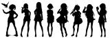 秋元康氏が手がける8人組デジタルアイドルグループのキャラクターシルエット(左から)河野都、斎藤ニコル、佐藤麗華、滝川みう、立川絢香、戸田ジュン、藤間桜、丸山あかね