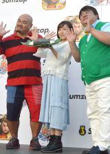 (左から)安田大サーカスのクロちゃん、加護亜衣、彦摩呂 (C)ORICON NewS inc.