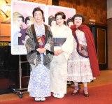 舞台『三婆』公開舞台けいこ前の囲み取材に出席した(左から)キムラ緑子、大竹しのぶ、渡辺えり (C)ORICON NewS inc.