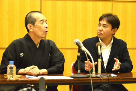 『笑点』で長男の名前公募を発表した林家三平(右)と林家木久扇(C)ORICON NewS inc.