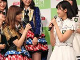『HKT48vs欅坂46 つぶやきCMグランプリ』開催発表記者会見に出席した(左から)指原莉乃、平手友梨奈 (C)ORICON NewS inc.