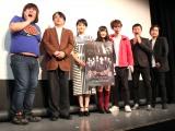 (左から)ガリガリガリクソン、長江俊和監督、葵わかな、矢倉楓子、シークエンスはやとも子、しいはしジャスタウェイ、おもしろ佐藤 (C)ORICON NewS inc.