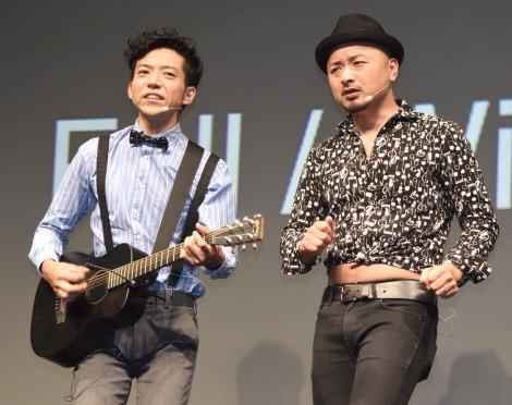 SIMフリーキャリア『FREETEL新製品・新サービス発表会』に登場したどぶろっく (C)ORICON NewS inc.
