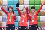 団体女子銅メダル 3 人娘が登場(左から)石川佳純、伊藤美誠、福原愛(C)テレビ朝日