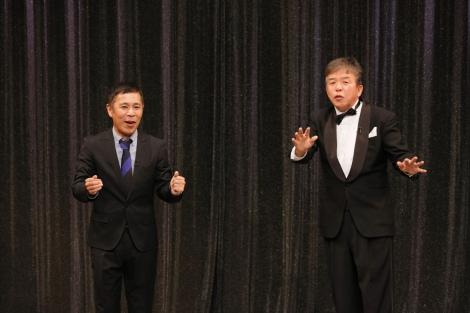 (左から)ナインティナインの岡村隆史、村上ショージ