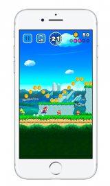 任天堂のスマートフォン用ゲーム『SUPER MARIO RUN』のiPhone版ゲーム画面 (C)2016 Nintendo