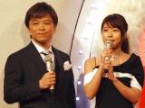『第67回紅白歌合戦』リハーサル3日目に参加した(左から)武田真一アナ、有村架純 (C)ORICON NewS inc.