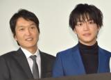 劇場版『新・ミナミの帝王 THE KING OF MINAMI』初日舞台あいさつに出席した(左から)千原ジュニア、大東俊介 (C)ORICON NewS inc.