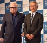 会見に出席した(左から)マーティン・スコセッシ監督、「かくれキリシタン」の村上茂則さん (C)ORICON NewS inc.