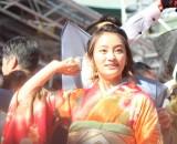 赤坂日枝神社で行われた『節分祭』で豆まきを行なった岡田結実 (C)ORICON NewS inc.
