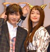 連続ドラマ『きみはペット』の完成披露試写会に出席した(左から)志尊淳、入山法子 (C)ORICON NewS inc.