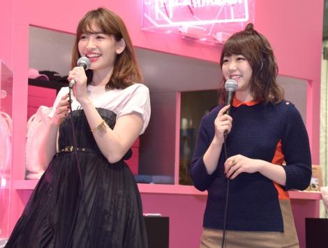 期間限定ショップ『22;market』のプレスプレビューに出席したAKB48(左から)小嶋陽菜、峯岸みなみ (C)ORICON NewS inc.