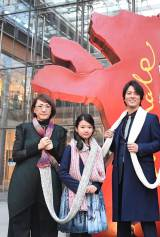 『第67回ヘ?ルリン国際映画祭』に参加した(左から)荻上直子監督、柿原りんか、桐谷健太 (C)2017「彼らが本気で編むときは、」製作委員会