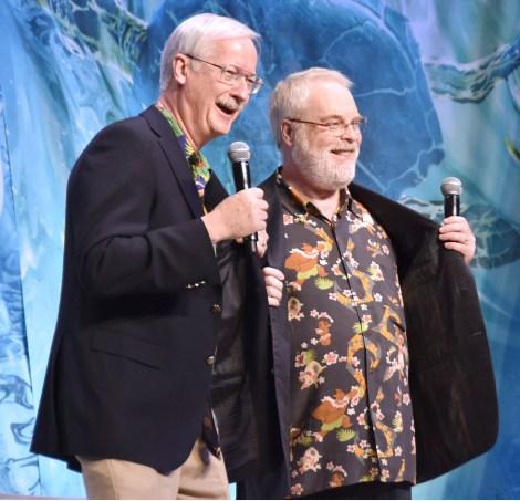 キャラクターが描かれたシャツで登場した監督たち=ディズニー・アニメーション『モアナと伝説の海』のイベント (C)ORICON NewS inc.