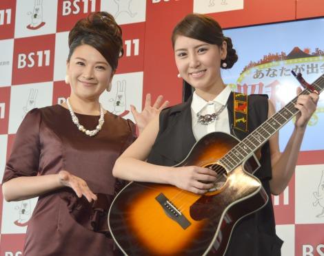 BS11チャンネルの4月期改編説明会に登壇した(左から)島崎和歌子 、おかゆ (C)ORICON NewS inc.