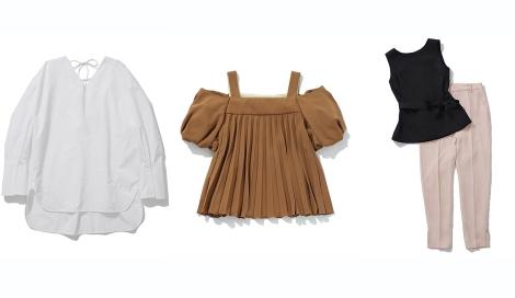 サムネイル 左から「バックレースアップシャツ」(税抜1万9000円)、「ボリュームスリーブプリーツブラウス」(同2万7000円)、「フレアーブラウスセットアップ」(同3万円)