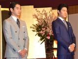 2018年大河ドラマ『西郷どん』に出演する(左から)瑛太、鈴木亮平 (C)ORICON NewS inc.