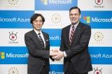 クラウド/AI 技術で連携することを発表した(左から)フジテレビ常務取締役大多亮氏、日本マイクロソフト代表取締役社長平野拓也氏