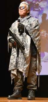 2時間かけた特殊メイクとコスプレでバトーに扮した長州力=映画「ゴースト・イン・ザ・シェル」顔面ハッキングイベント (C)ORICON NewS inc.