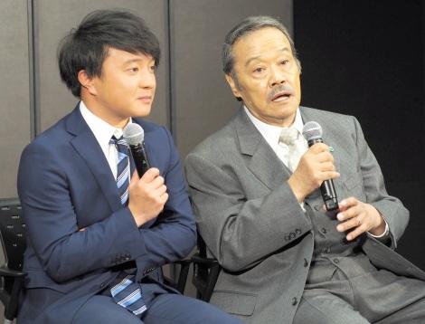 テレ東・新入社員にエールを送った(左から)濱田岳、西田敏行 (C)ORICON NewS inc.