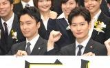 TBSテレビ入社式に登場した(左から)長谷川博己、岡田将生 (C)ORICON NewS inc.