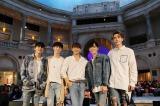 5thシングル「出会いあいして」のリリース記念イベントを開催したMYNAME(左から)インス、ジュンQ、セヨン、チェジン、コヌ