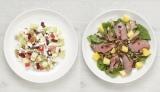 西岡麻央さん直伝(左から)3分でできるモーニングパワーサラダ、ローストビーフとパイナップルのパワーサラダ