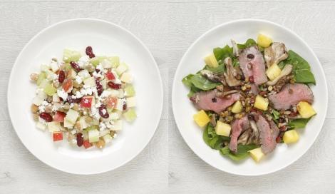 サムネイル 西岡麻央さん直伝(左から)3分でできるモーニングパワーサラダ、ローストビーフとパイナップルのパワーサラダ