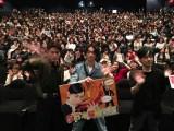 新宿バルト9で行われた映画『帝一の國』の舞台あいさつに登場した(左から)間宮祥太朗、菅田将暉、永井聡監督