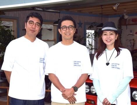 『おぎやはぎの愛車遍歴フェスティバル2017』を開催した(左から)小木博明、矢作兼、自動車評論家の竹岡圭氏 (C)ORICON NewS inc.