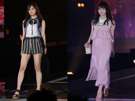 サムネイル トップバッターを飾った乃木坂46・白石麻衣(左)、『GirlsAward』初出演の欅坂46・渡辺梨加(右)