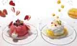 左『ストロベリーフローズンドーム〜ふわふわ苺ソース〜』、右『マンゴーフローズンドーム〜ふわふわチーズヨーグルトソース〜』(税込価格:各980円)