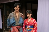 京都市内で取材に応じた連続テレビ小説『わろてんか』のヒロイン・葵わかなと松坂桃李(C)NHK