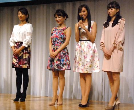 新生BSスカパー!『開局』発表会に出席した(左から)望月理恵、美馬怜子、松本あゆ美、色紙千尋 (C)ORICON NewS inc.