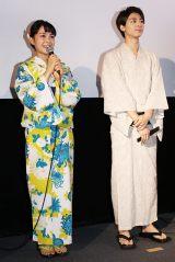 映画『逆光の頃』の公開初日舞台あいさつに出席した(左から)葵わかな、高杉真宙 (C)ORICON NewS inc.