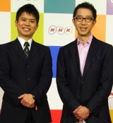 ラジオ第1『NHKマイあさラジオ』(左から)野村優夫、加藤成史アナウンサー