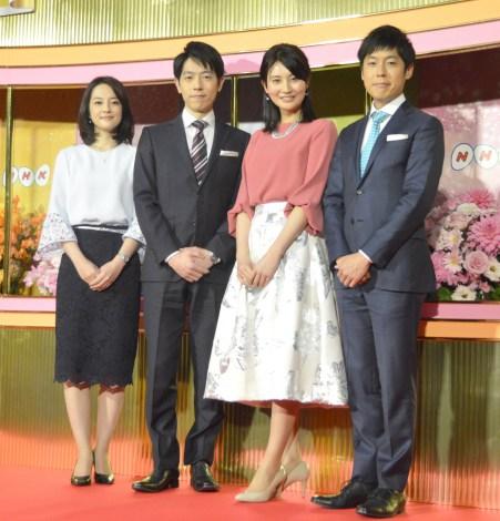 『NHKニュース7』を新たに担当する(左から)鈴木奈穂子、高井正智、井上あさひ、井上裕貴 (C)ORICON NewS inc.