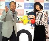 NHKでEテレの新番組『Q〜こどものための哲学〜』の試写会に出席した(左から)ガッツ石松、本田翼 (C)ORICON NewS inc.