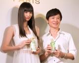 (左から)鈴木えみ、Eita氏=『ロレアルパリ ボタニカルヘアケア』新製品発表会 (C)ORICON NewS inc.