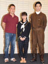 舞台『オサエロ』公開ゲネプロと囲み取材に参加した(左から)脚本・演出の藤森一朗氏、SKE48・竹内彩姫、清水一輝 (C)ORICON NewS inc.